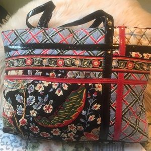 Vera Bradley Shoulder Tote Bag Leather trim Handle